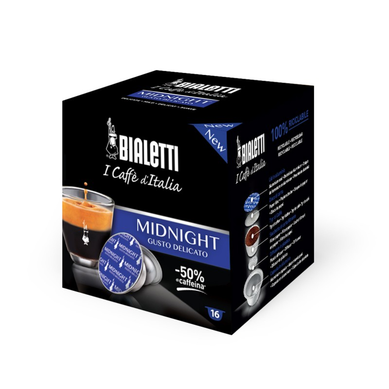Bialetti Midnight Delicato 16 PZ capsule caffè d'italia